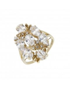 Pre-Owned 9ct Yellow Gold Fancy Cubic Zirconia Cluster Ring
