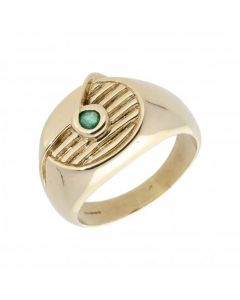 Pre-Owned 9ct Yellow Gold Emerald Set Ridged Signet Ring