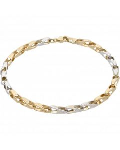 New 9ct Yellow & White Gold Fancy 7 Inch Ladies Bracelet