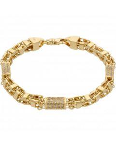 New 9ct Yellow Gold Cubic Zirconia Box Cage Basket Bracelet 27.g