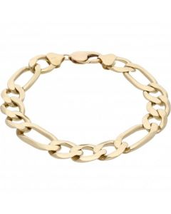 Pre-Owned 9ct Yellow Gold 9.3 Inch Heavy Figaro Bracelet