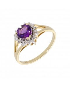 New 9ct Yellow Gold Amethyst & Diamond Heart Cluster Ring