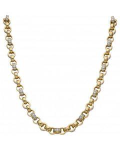 New 9ct Gold 22 Inch Cubic Zirconia Set Belcher Necklace 2.2oz