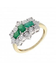 New 9ct Yellow Gold Emerald & Diamond Boat Shaped Cluster Ring