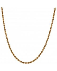 Pre-Owned 9ct Yellow Gold 16 Inch Hollow Rope Chain Necklace
