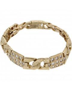 Pre-Owned 9ct Gold 9.5 Inch Heavy Cubic Zirconia Set Bracelet