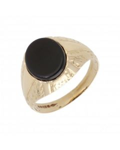 Pre-Owned 9ct Yellow Gold Oval Onyx Signet Ring