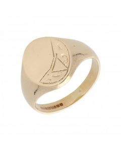 Pre-Owned 9ct Yellow Gold Part Patterned Oval Signet Ring