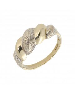 Pre-Owned 9ct Yellow & White Gold Textured Wave Dress Ring