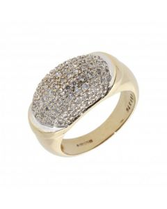 Pre-Owned 9ct Yellow Gold Diamond Set Domed Dress Ring