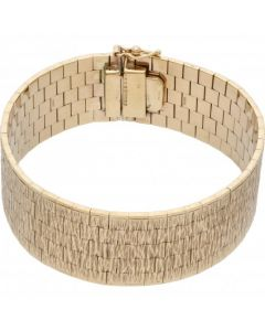 Pre-Owned 9ct Yellow Gold 7 Inch Barked Effect Cuff Bracelet