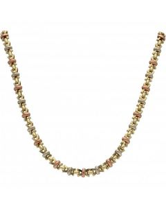 """Pre-Owned 9ct Yellow Rose & White Gold 16"""" Kiss Link Necklet"""