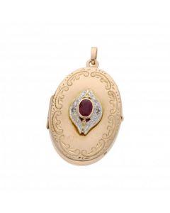 Pre-Owned 9ct Gold Ruby & Diamond Set Fancy Locket Pendant