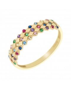 New 9ct Yellow Gold Multi Colour Cubic Zirconia Ring
