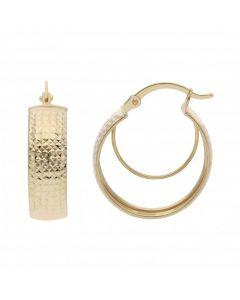 New 9ct Gold Diamond-Cut Pattern Wide Band Creole Hoop Earrings