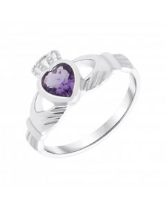 New Sterling Silver Purple Cubic Zirconia Claddagh Dress Ring