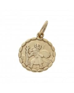 New 9ct Yellow Gold Double Sided Reversible St Christopher