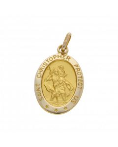 New 9ct Yellow Gold Oval St Christopher Pendant