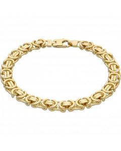 """New 9ct Yellow Gold 8.5"""" Flat Byzantine Link Bracelet 1.1oz"""