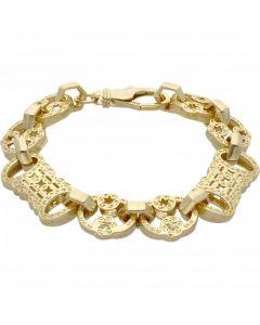 New 9ct Yellow Gold 8.5 Inch Stars & Bars Mens Bracelet 1.1oz