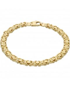 "New 9ct Yellow Gold 8.5"" Flat Byzantine Link Bracelet 23.7g"