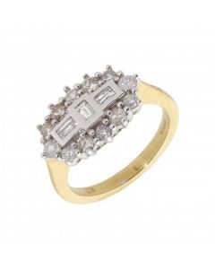 New 18ct Yellow Gold 0.75ct Diamond Boat Shaped Cluster Ring