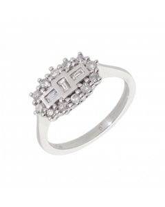 New 18ct White  Gold 0.50ct Diamond Boat Shaped Cluster Ring