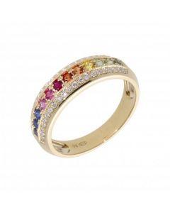 New 9ct Yellow Gold Rainbow Sapphire & Diamond Eternity Ring