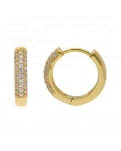 New Sterling Silver & Gold Plated Cubic Zirconia Huggie Earrings