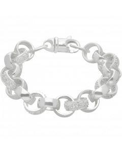 """New Sterling Silver 9"""" Cubic Zirconia Belcher Bracelet 1.3oz"""