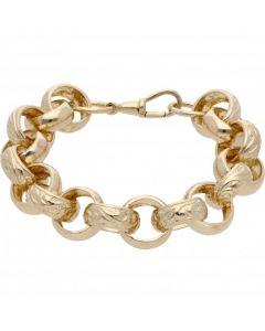 "New 9ct Yellow Gold 9"" Pattern & Polish Belcher Bracelet 1.7oz"