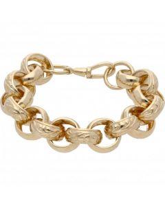 "New 9ct Yellow Gold 8.5"" Pattern & Polish Belcher Bracelet 1.6oz"