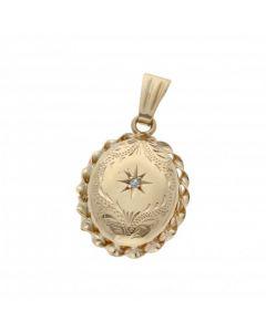 Pre-Owned 9ct Gold Diamond Set Patterned Locket Pendant