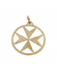 Pre-Owned 9ct Yellow Gold Maltese Cross Pendant