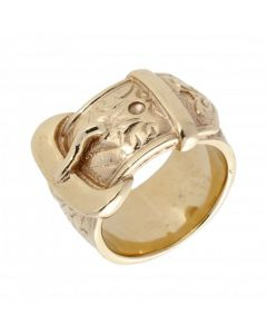 Pre-Owned 9ct Yellow Gold Heavy Patterned Buckle Ring