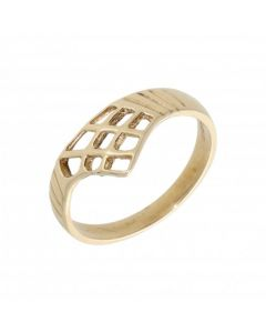 Pre-Owned 9ct Yellow Gold Fancy Cutout Wishbone Ring