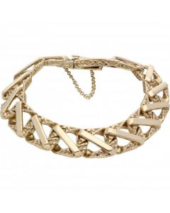 Pre-Owned 9ct Yellow Gold 9 Inch Heavy Curb Bar Link Bracelet