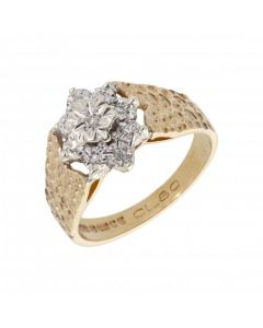 Pre-Owned 9ct Yellow Gold Illusion Set Diamond Cluster Ring