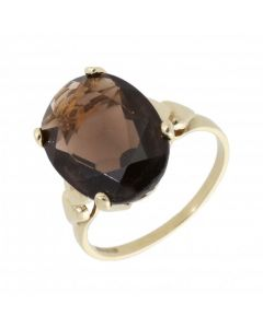 Pre-Owned 9ct Gold Smokey Quartz Oval Solitaire Dress Ring