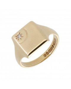 Pre-Owned 9ct Yellow Gold Gemstone Set Sunburst Signet Ring