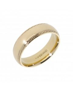 Pre-Owned 9ct Yellow Gold 6mm Patterned Edge Wedding Band Ring
