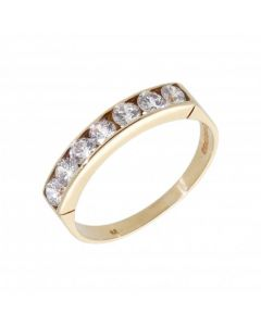 Pre-Owned 9ct Yellow Gold Cubic Zirconia Half Eternity Ring