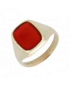 Pre-Owned 9ct Yellow Gold Carnelian Signet Ring