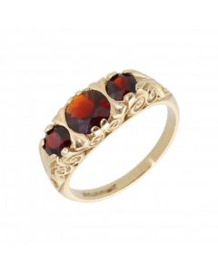 Pre-Owned 9ct Yellow Gold Garnet Trilogy Dress Ring