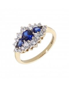 Pre-Owned 9ct Gold Synthetic Sapphire & Cubic Zirconia Ring