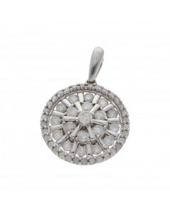 Pre-Owned 9ct White Gold Mixed Cut Round Diamond Cluster Pendant