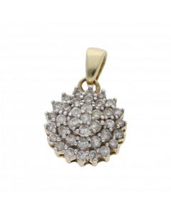 Pre-Owned 9ct Yellow Gold 0.25 Carat Diamond Cluster Pendant