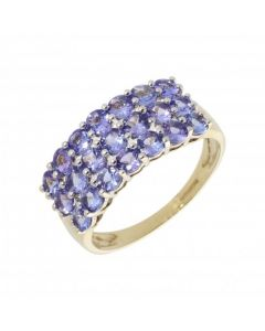 Pre-Owned 9ct Yellow Gold Triple Row Tanzanite Dress Ring