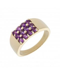 Pre-Owned 9ct Yellow Gold Amethyst Cluster Set Band Dress Ring