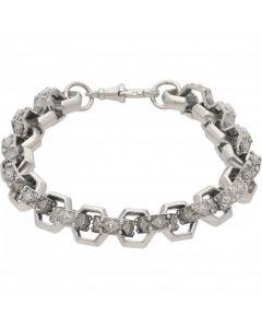 """New Sterling Silver Heavy 10""""  Hexagon Belcher Bracelet 1.3oz"""